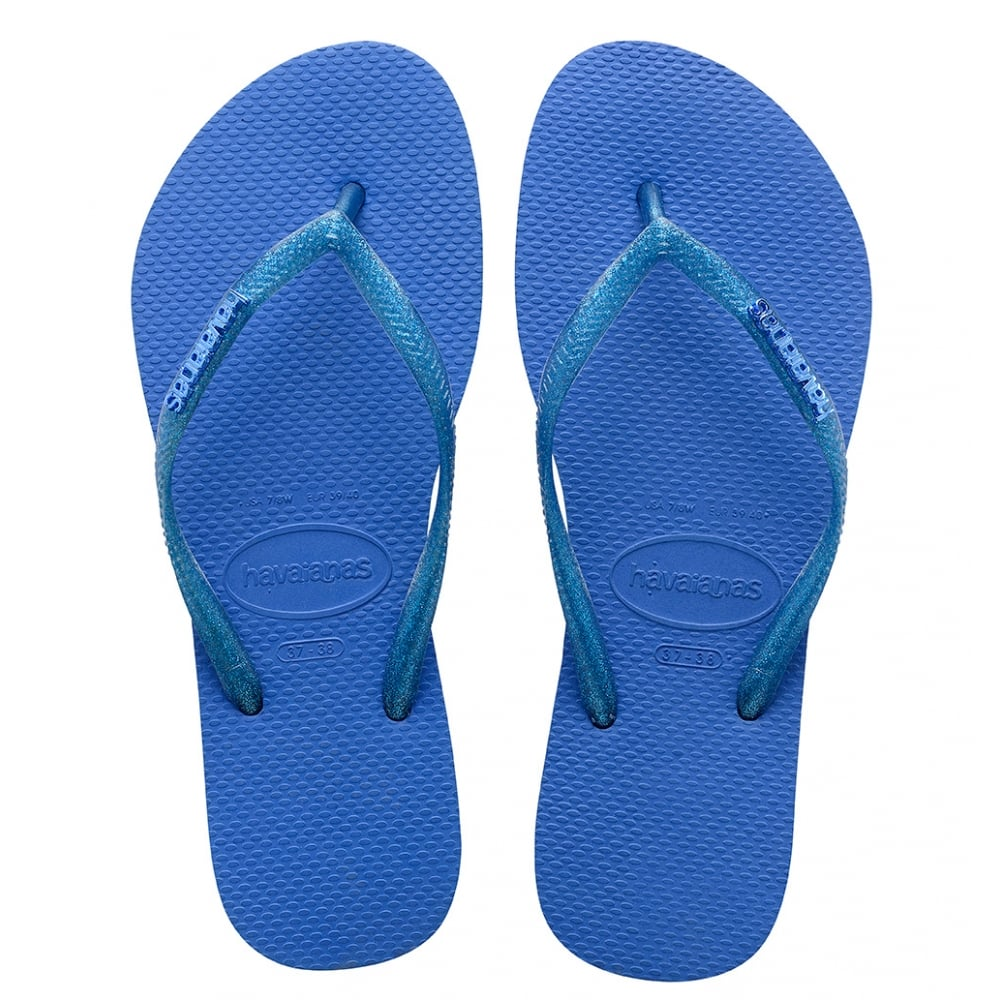 3fd371627 Havaianas Slim Logo Metallic Blue Star