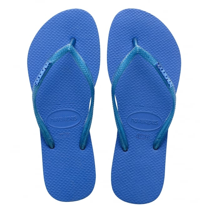 Havaianas Slim Logo Metallic Blue Star, slim fitting flip flop