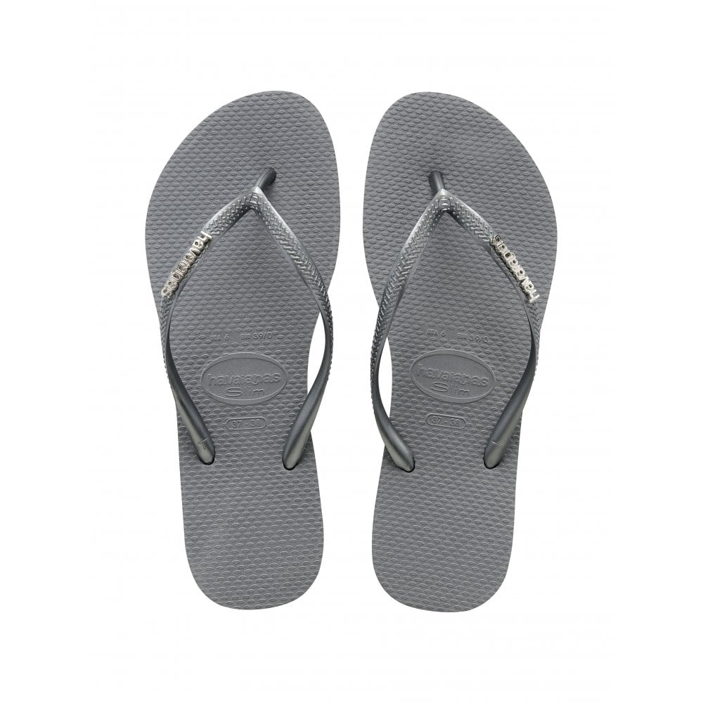 Slim Logo Metallic Ice Grey Slim Fitting Flip Flop