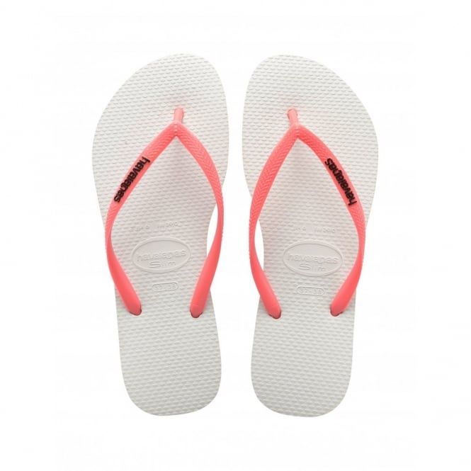 Havaianas Slim Logo Slim White/Coral, Womens fit