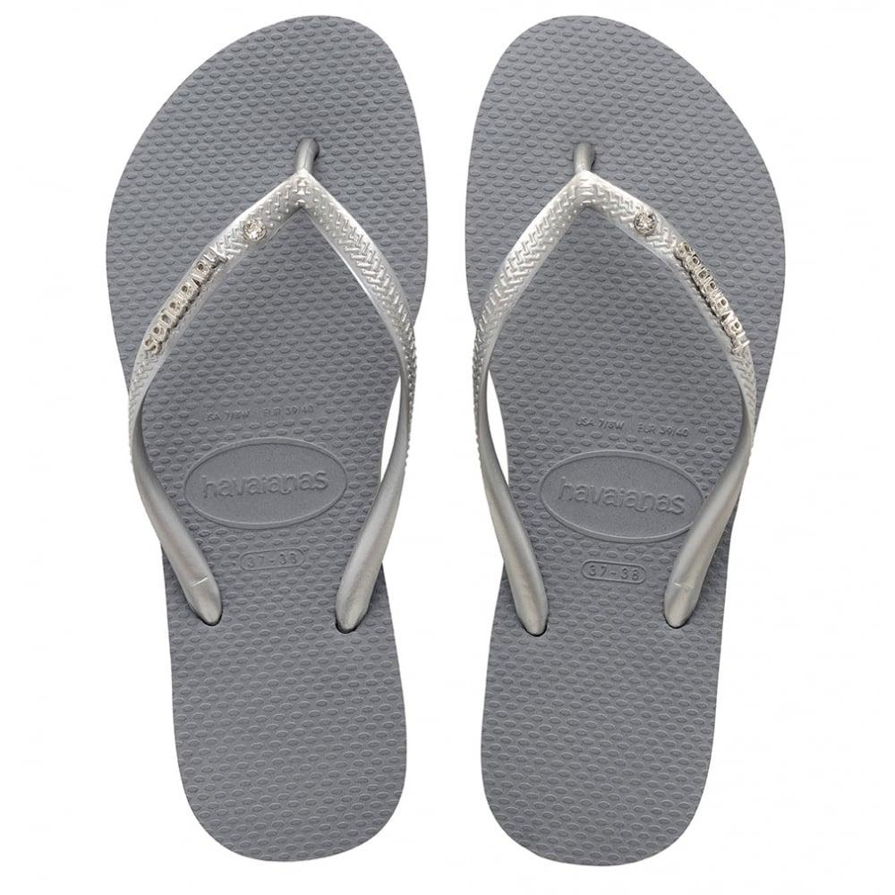 552e61d13 Havaianas Slim Metal Logo Crystal Steel Grey Bright Silver