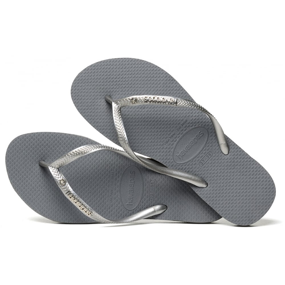 4b2330b74c29 Havaianas Slim Metal Logo Crystal Steel Grey Bright Silver