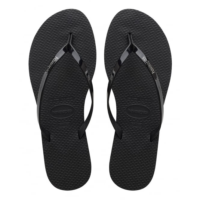 Havaianas You Metallic Black, thin and elegant flip flop for women