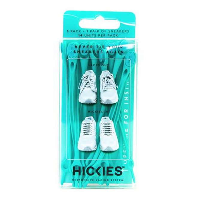 Hickies Turquoise Pack, elastic lacing system turns sneakers into slip-ons!