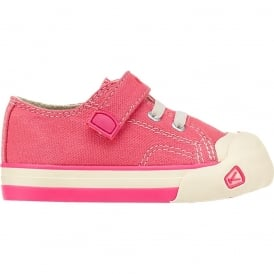 Kids Coronado Coral/Camellia Rose, a classic canvas sneaker updated style lace up with metatomical footbed