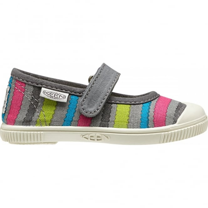 KEEN Kids Maderas MJ Neutral Grey Stripes, adjustable hook and loop closure for quick on and off wear