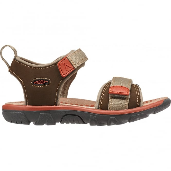 KEEN Kids Riley Cascade Brown/Bossa Nova, a lightweight and flexabile sandal