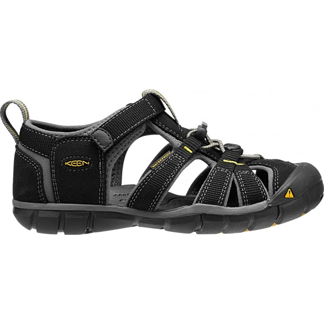 KEEN Kids Seacamp II Black/Yellow, a low profile lightened version of the original sandal