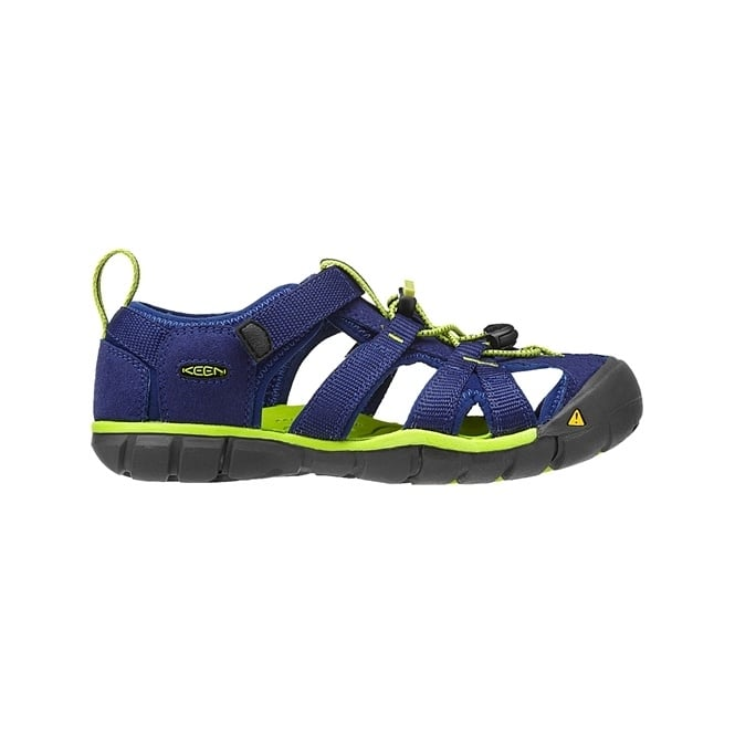 KEEN Kids Seacamp II Blue Depths/Lime Green, a low profile lightened version of the orignal sandal