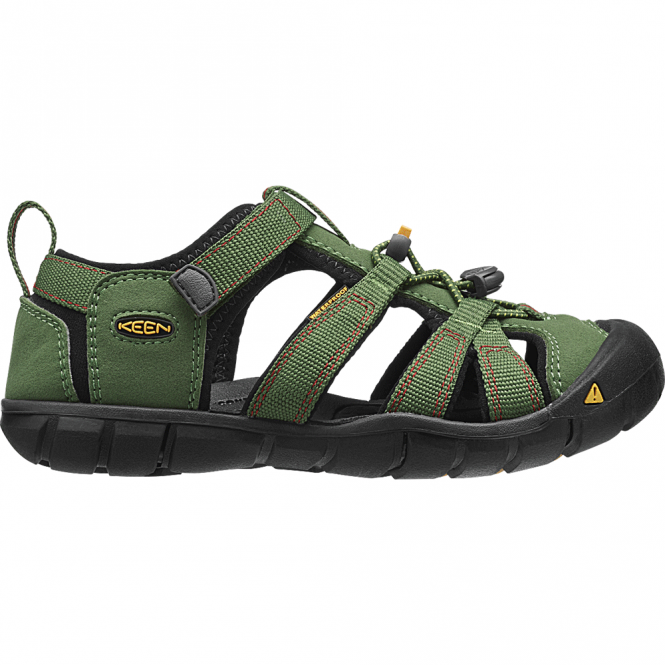 KEEN Kids Seacamp II Bronze Green/Chilli Pepper, a low profile lightened version of the orignal sandal
