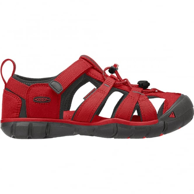 KEEN Kids Seacamp II Tango Red/Raven, a low profile lightened version of the orignal sandal