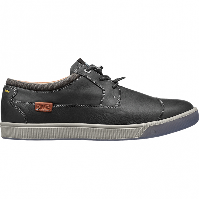 KEEN Mens Glenhaven Black, waxy leather shoe with a choice of laces