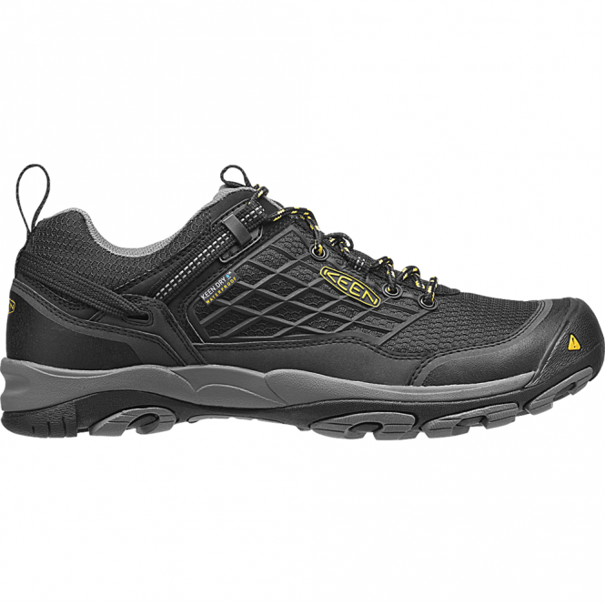KEEN Mens Saltzman Low WP Black/Yellow, the perfect light weight waterproof hiking shoe
