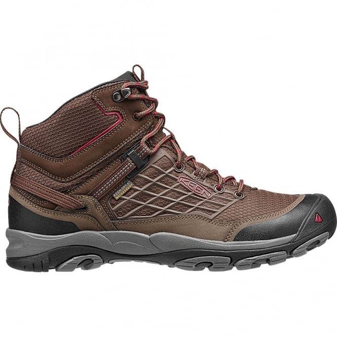 KEEN Mens Saltzman Mid WP Cascade Brown/Chilli Pepper, light and waterproof hiking boot