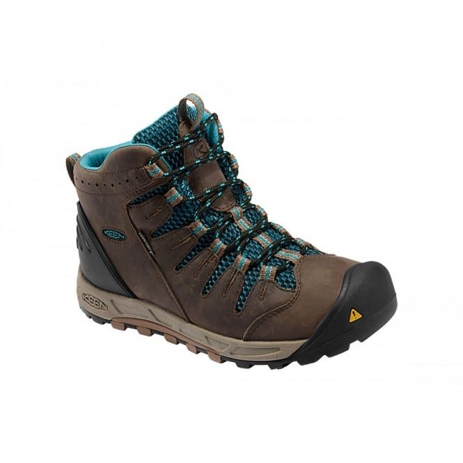 KEEN Womens Bryce Mid WP Shitake/Caribbean Sea, Lightweight hiking for worldwide excursions