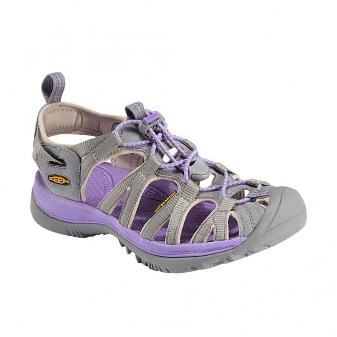 KEEN Womens Whisper Neutral Gray/Bougainvillea, a narrow version of the orignal sandal with toe bumper