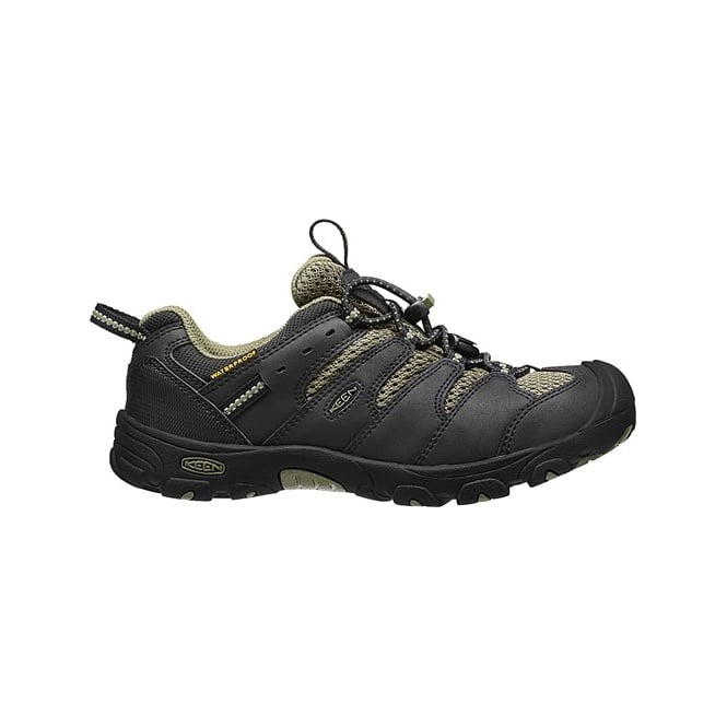 KEEN Youth Koven Low WP Black/Burned Olive, kid's waterproof low-cut hiking boot is an easy to wear