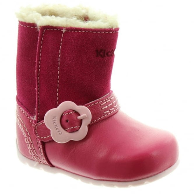 Kickers Kick Hi Slip Pink/Light Pink, a perfect first boot for any little girl