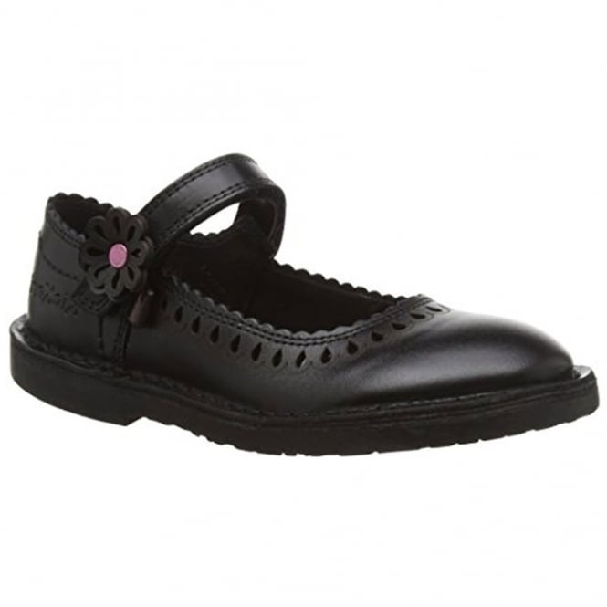Kickers Adlar Petal 2 Youth Black, a classic ballet shoe with a floral design