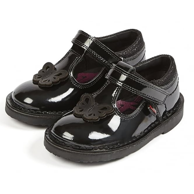 Kickers Adlar T Patent Black Infant