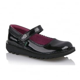 Kick Bar Bow black Patent Junior 113425, ideal for school and beyond