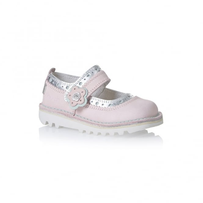 Kickers Kick Brogbar 3 Pink, Girls leather shoe