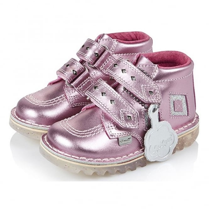 Kickers Kick Diamond Patent Infant Pink/Silver, a funky twist on the classic Kick Hi