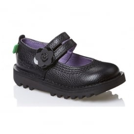 Kickers Kick Duo Infant Leather Black, Girls leather school shoe