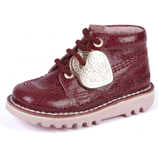 Kickers Kick Hi Burgandy Infant