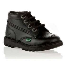 Kickers Kick Hi Infant Leather Black, Lace up school boot