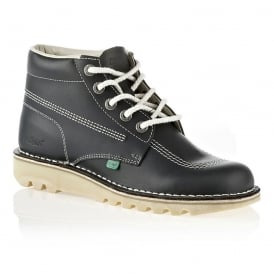 Kick Hi Womens Navy/Natural, Leather lace up boot