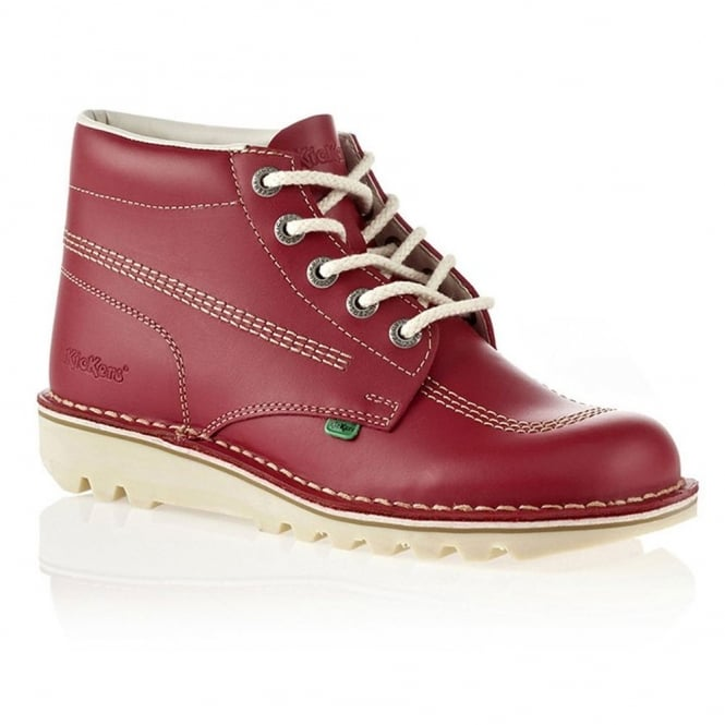Kickers Kick Hi Womens Red/Natural, Leather lace up boot