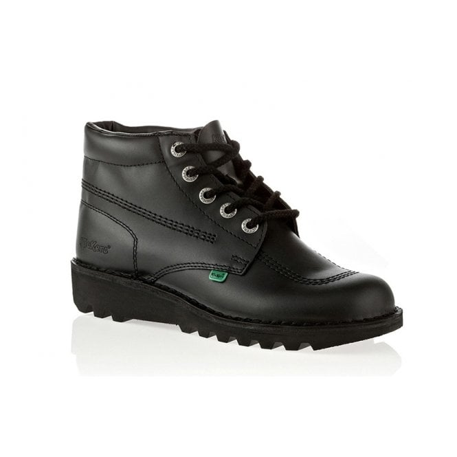 Kickers Kick Hi Youth Black, Leather lace up boot