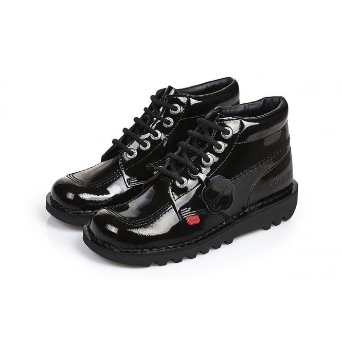 Kickers Kick Hi Youth Patent Black, Leather lace up boot