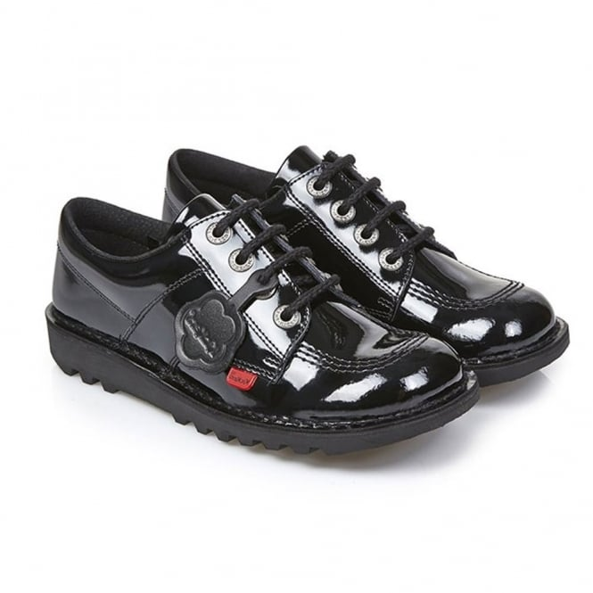 Kickers Kick Lo Core Patent Black/Black Junior