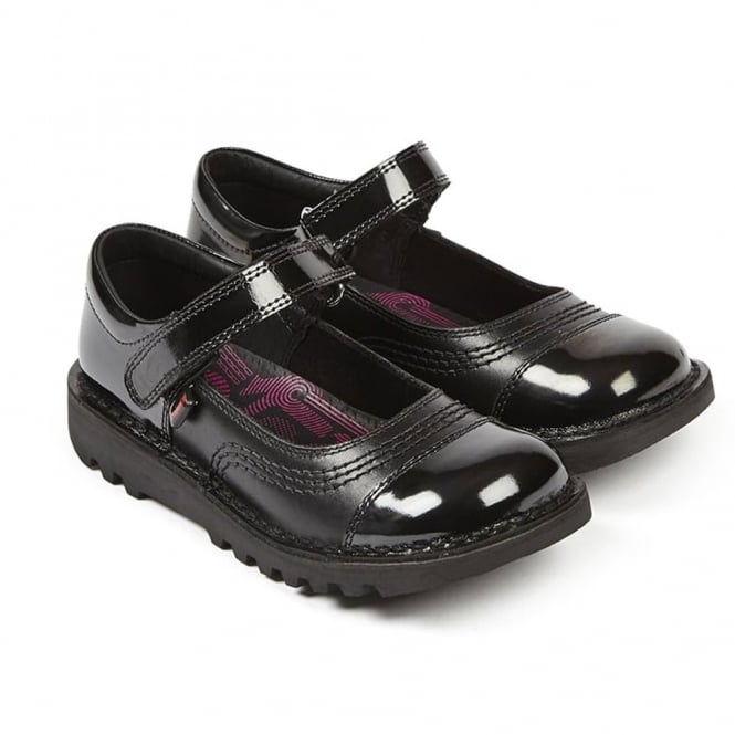 Kickers Kick POP Junior Black, the perfect mixture of leather and patent