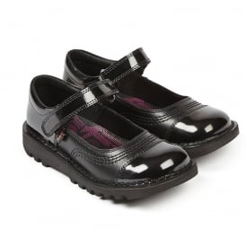 Kick POP Junior Black, the perfect mixture of leather and patent