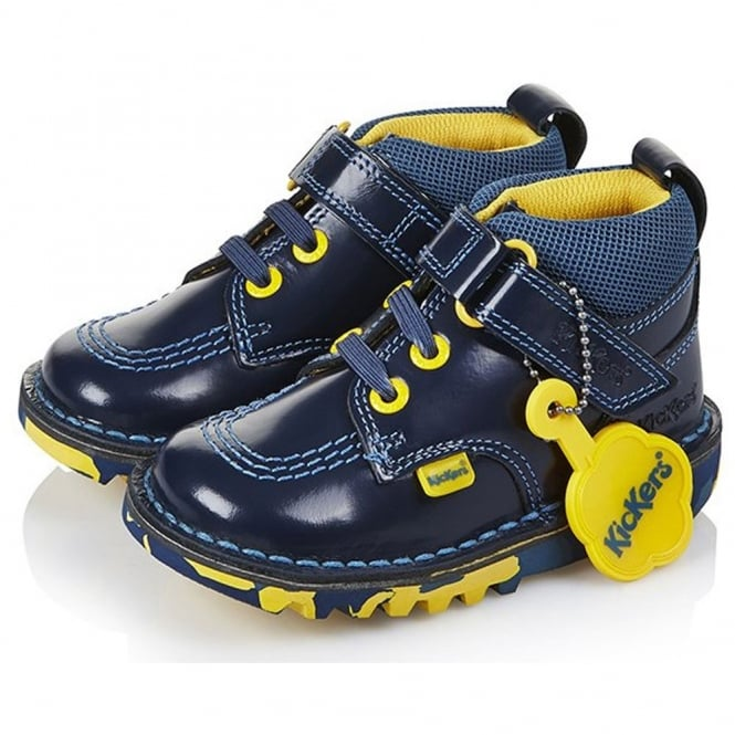 Kickers Kick Tooquick Dark Blue/Yellow, easy on and off boys boot