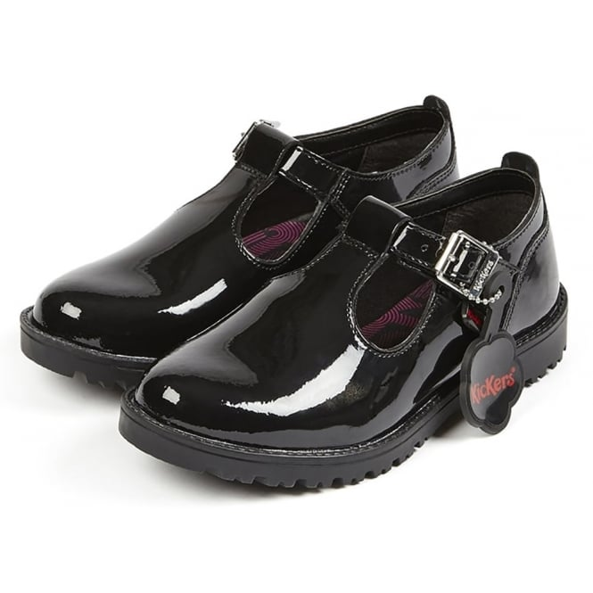 Kickers Lachly T Patent Black Youth