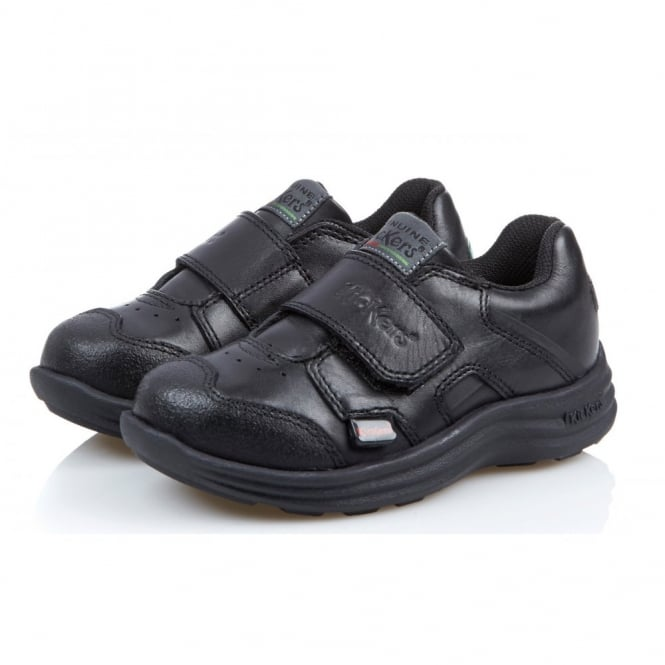 Kickers Seasan Strap Infant Black, leather school shoe