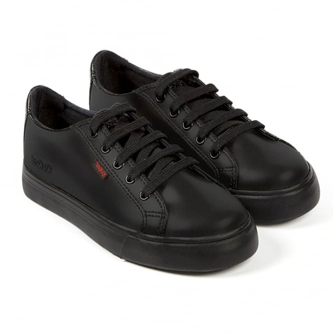Kickers Tovni Lacer Youth Black, sporty leather laced shoe