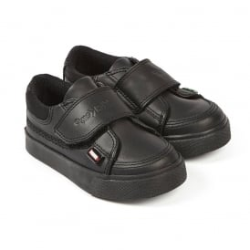 Tovni Quad Infant Black, a sporty looking leather school shoe