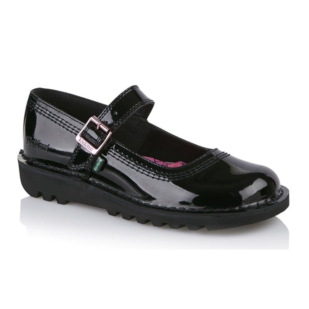 Kickers Womens Kick Bar Patent Black 113368 work and school shoe