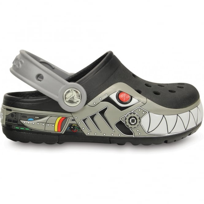 Crocs Kids Lights Robo Shark Clog Black/Silver, the comfort of the Classic but with fun LED light up design