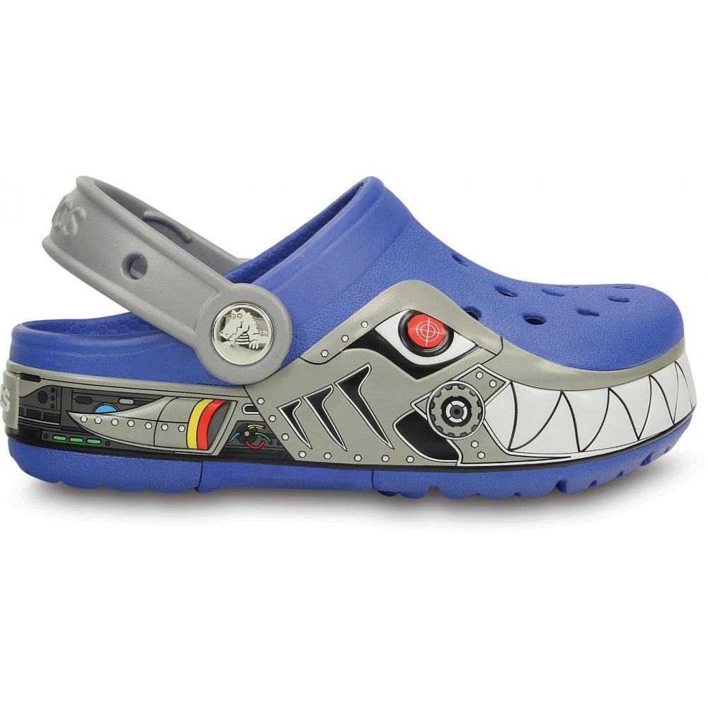 b2d8dbd1bf Crocs Kids CrocsLights Robo Shark Clog Sea Blue Silver