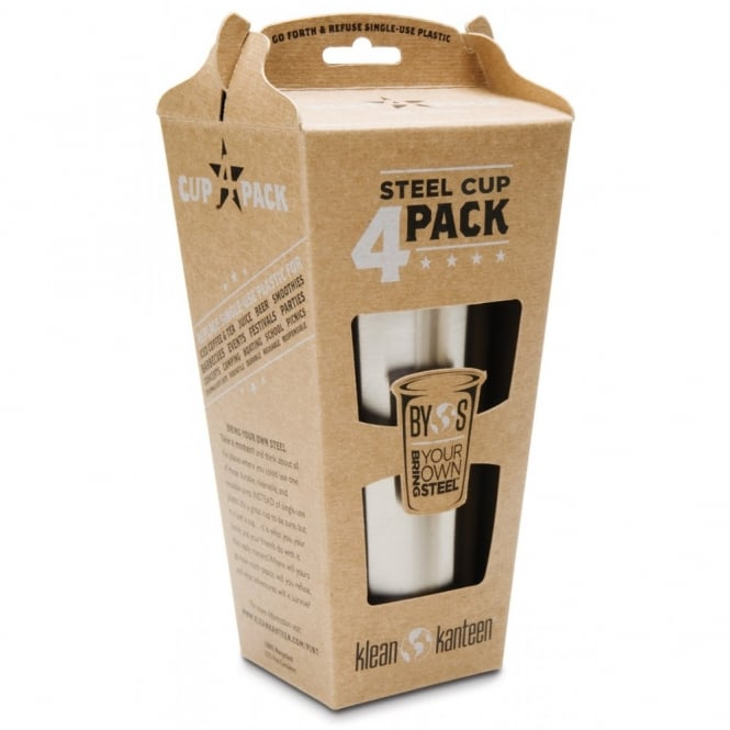 Klean Kanteen 4 Pack 10oz/295ml Cups Brushed Stainless Steel