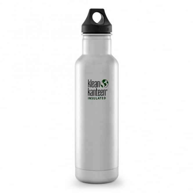 Klean Kanteen 592ml Classic Insulated Brushed Stainless Steel, Water Bottle great for on the move