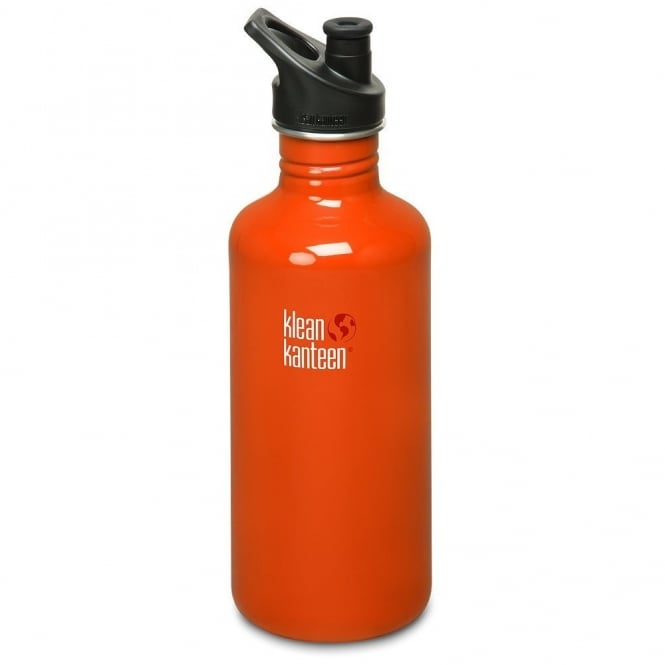 Klean Kanteen Classic 1182ml Sports Cap Flame Orange, Stainless Steel Water Bottle great for on the move