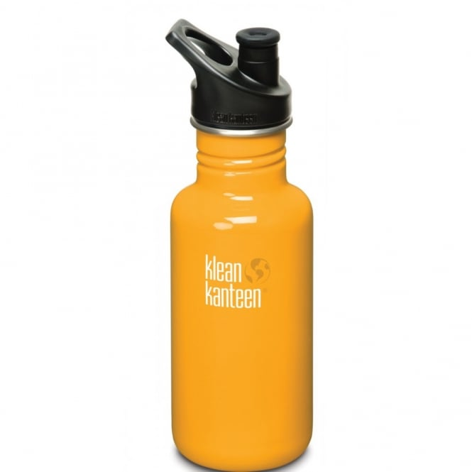 Klean Kanteen Classic 532ml Sports Cap Flame Orange, Stainless Steel Water Bottle great for on the move