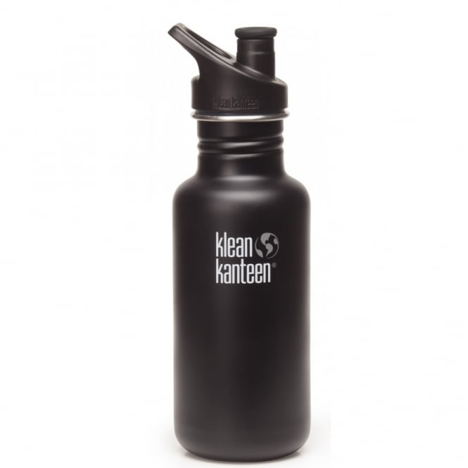 Klean Kanteen Classic 532ml Sports Cap Shale Black, Stainless Steel Water Bottle great for on the move